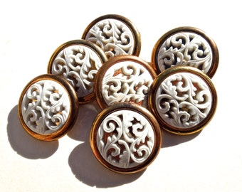 VINTAGE: 7 Retro Snap Together Plastic Buttons - Retro Filigree Buttons - 80's