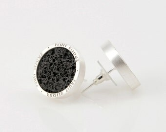 Arena - silver plated stud earrings with volcanic lava