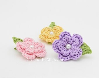 Lindsey Flower Clip, set of THREE, spring, easter, girls, hair clip, crochet by allie