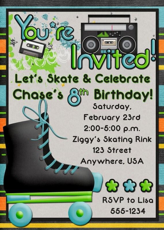 Roller Skating Birthday Party Invitation Boy