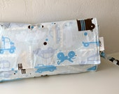 All In One Changing Pad and Diaper Clutch in beep beep by Alexander Henry