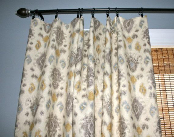 Items Similar To Grey Blue Yellow Ivory Ikat Curtain Panels Custom Designer Drapery