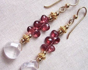 Rose Quartz and Rhodolite Garnet Earrings with Gold