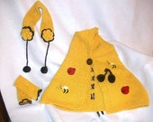 Little Miss Garden Girl 3 Piece Spring Wool Cape Set.....One Size Fits Most 12 mos-5 Yrs....Bumblebee Yellow, Lady Bugs, Bumble Bees,