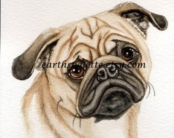 Pug dog painting 5x7 print from original watercolor painting, pet portraits, dogs, animals, art, earthspalette