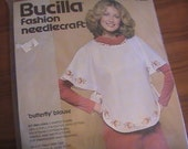 Vintage Bucilla Fashion Needlecraft Kit Butterfly Blouse Embroidery Sewing 1970s
