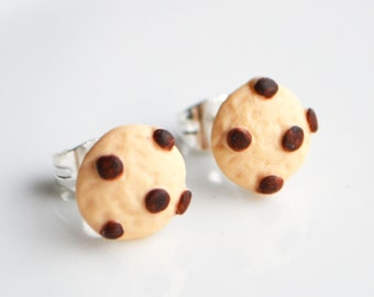 Cookie Stud Earrings, Fimo, Polymer Clay, Miniature