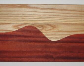 "mathematical breadboard (16"" x 9"" x 3/4"" thick) in ash and padauk wood"