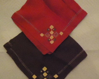 Vintage handkerchiefs brown and red embroidered