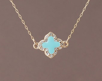 Crystal Turquoise Gold Clover Necklace