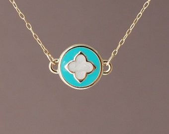 Round Turquoise Gold Clover Necklace also in Silver