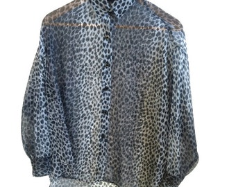 SALE Vintage Blouse Sheer Animal Print Button Up High Low Blouse Oversized Cape Shawl Small Medium FREE SHIPPING