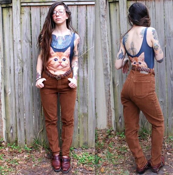 Vintage // 90's High Waist Grunge Brown Denim Jeans //