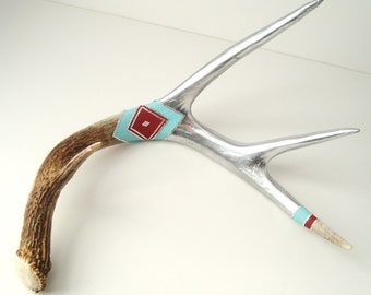 Deer Antler Swarovski Crystal Rhinestones Painted Art Sculpture - Silver, Red, Turquoise