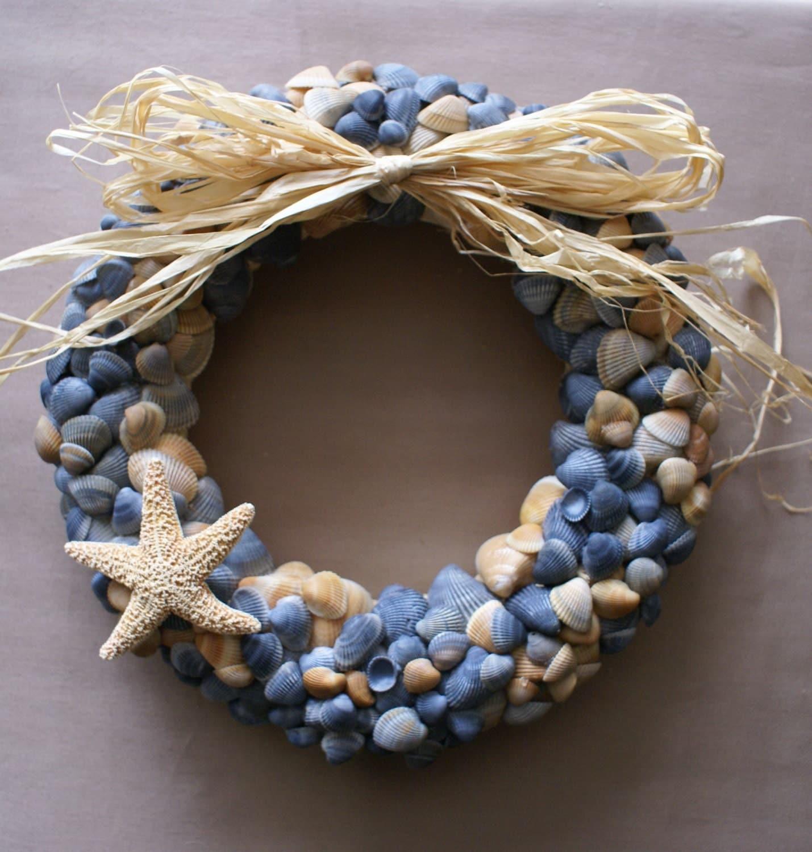 Seashell Wreath 11 Blue Beach Wreath Coastal Decor