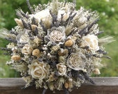 Dried Lavender, Dried Flower, Wheat, Rose, Paper and Lace Bride Bouquet  MADE TO ORDER