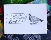 Pigeons With Attitude - postcard print