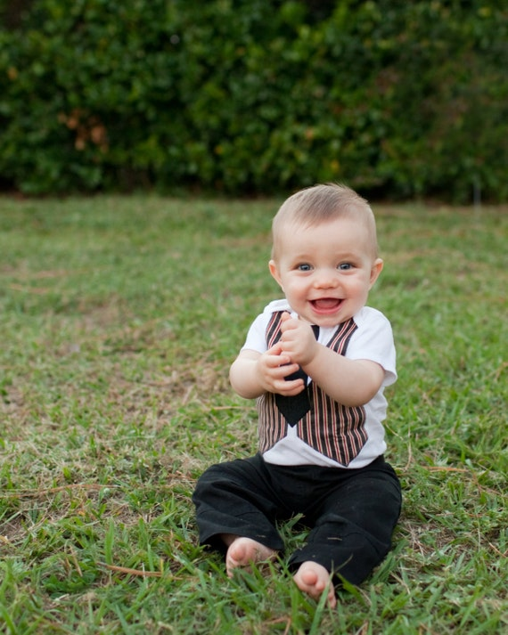 Little Man Vest and Tie Onsie just like dad's - Made to order