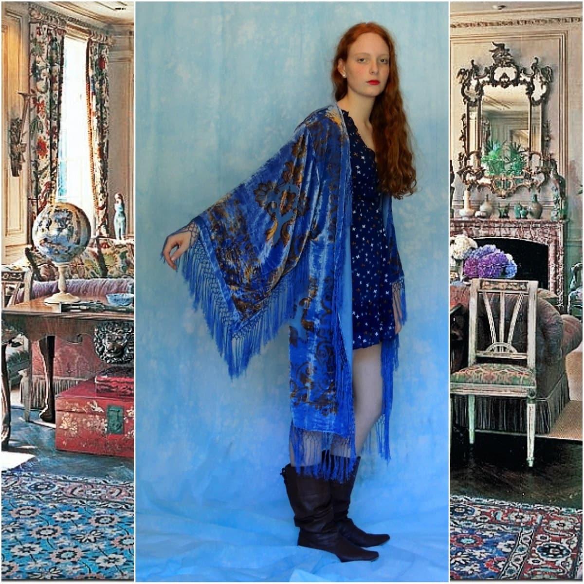 Luxe Long Silk Kimono Fringe Gatsby Burnout Velvet Devore