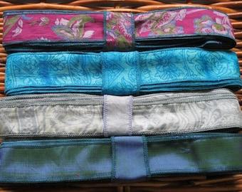 Silk Sari Ribbon, Silk Trim, 4 colors,  E4