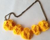 Bright Yellow Felt Rosette Necklace, Felt Necklace, Bib Necklace, Flower Necklace, Statement Necklace, Felt Jewelry