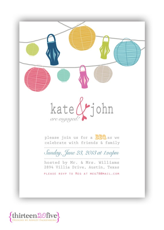 Items similar to engagement party printable invitation bbq for Etsy engagement party invites