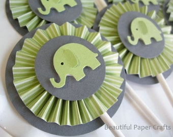 Green And Gray Baby Elephant Cupcake Toppers  Elephant Baby Shower  Decorations..Set Of