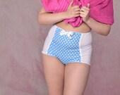 Blue Polka Dot High Waist Pinup Panty