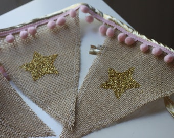 Burlap, Gold Glitter and Pink Pom Pom Banner, Custom Burlap Bunting, Decoration