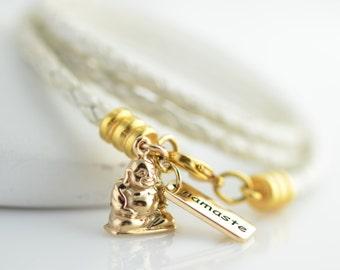 Charm Bracelet, Yoga Bracelet, Womens Leather Wrap Bracelet, Gold Buddha Charm and Namaste Tag Bracelet,Braided Leather Wrap Bracelet,