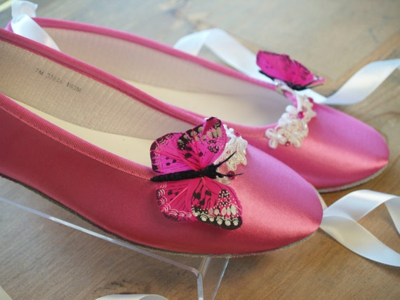 Hot Pink Wedding Flat ShoesHot Pink Butterflies & by ...