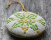 Easter decoration - needle felted green yellow ornament - spring home decor - felt decorations - pin cushion pillow - made to order