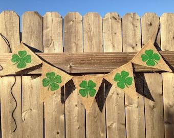 SHAMROCK BANNER, St. Patricks Day Decor, St. Pattys Day, Irish Decor, Lucky Banner, St. Patricks Day Banner, Fighting Irish, Lucky
