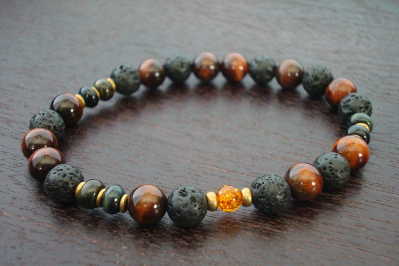 s healing prosperity mala bracelet lava rock