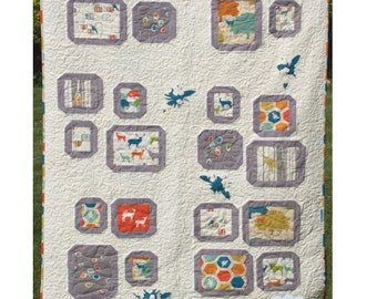 Beeline Squares Crib Quilt PATTERN - Lunden Quilt Designs - Modern Quilting Pattern - Uses Elk Grove Fabrics from Birch Fabrics