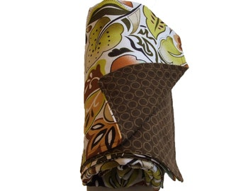 Leaf Baby Blanket  Large - Cotton and Flannel - Perfect for Boys or Girls