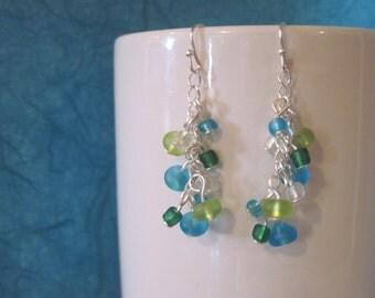 Matte beach glass dangle cluster earrings