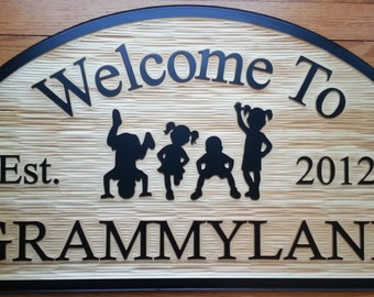Personalized Outdoor Wood Sign Hanging W/ Customizable Text and Kids (Textured Background)