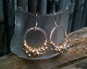 Robyn Earrings / Silver Hoops Wrapped in Silver & Gold