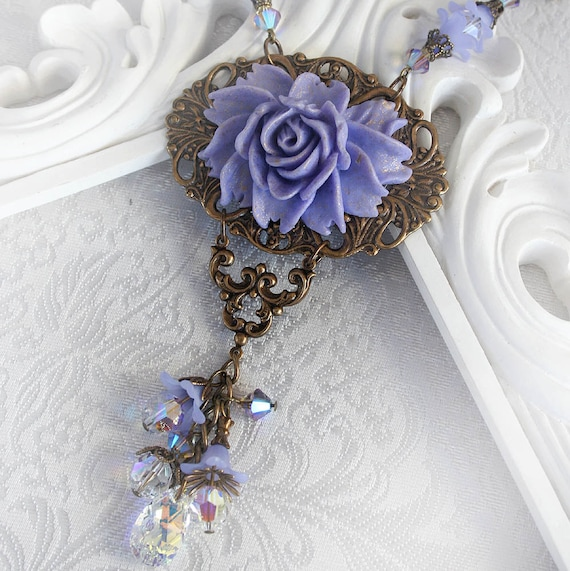 TWILIGHT GARDEN romantic Victorian style antiqued gold and periwinkle rose necklace