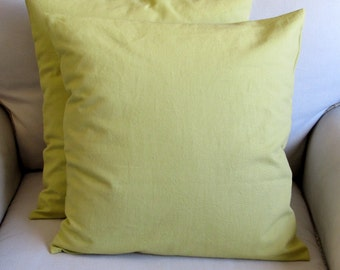 granny smith green cotton duck pillow covers
