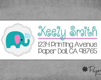 Return Address Labels - Modern Elephant - Teal Pink **Keely**