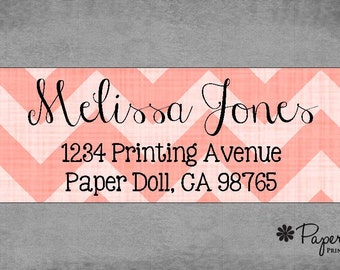 Return Address Labels - Chevron - Coral - Stickers