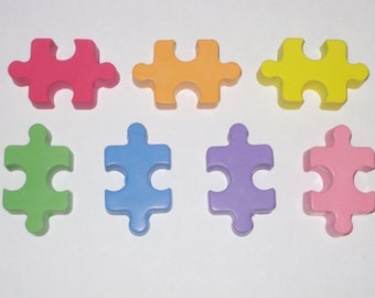 Puzzle Piece Shaped Sidewalk Chalk - Set Of 7 - You Choose The Colors