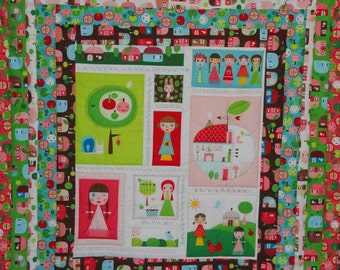 Cyber Monday Clearance Priced.  Appleville Baby Quilt  in Bright colors, PINK,  Raspberry, turquoise, green and brown  for little girls
