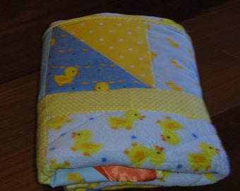 Cute little Duckies, Perfect Little Baby Quilt for boys or girls.   So soft, Minky, flannel and cotton
