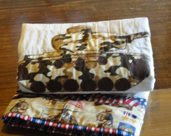 Cyber Monday Clearance Priced.  Appliqued Army Tank Baby Quilt,  Patriic Patchwork, red, white and blue and tank in camoflauge colors.