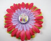 Birthday Hair Bow - Birthday Girl Flower Hair Clip - Colorful Birthday Hair Bow - Pink Green Purple Yellow Hair Clip - Birthday Accessory