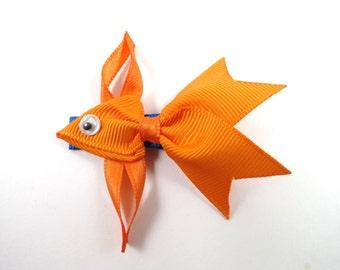 Orange Fish Hair Clip - Ribbon Sculpture - Fish Ribbon Sculpture - Fish Hair Bow - Orange Hair Clip - Gold Fish Hair Clip
