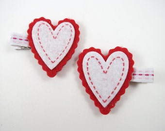 Red Heart Hair Clips - Red Hair Clips - Heart Hair Clip Set -  Red and White Hair Clips - Hair Clip Set - Valentines Day